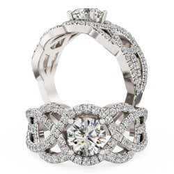 A luxurious Round Brilliant Cut diamond set ring in platinum