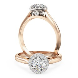 A stunning round brilliant cut diamond Halo ring in 18ct rose & white gold