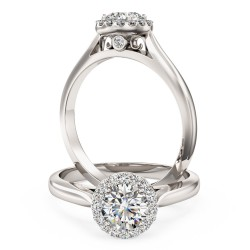 A stunning round brilliant cut diamond Halo ring in platinum