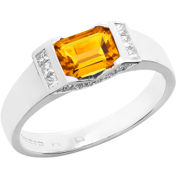 A dazzling Golden Citrine and Diamond ring in 18ct white gold