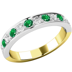 A stunning emerald & diamond eternity ring in 18ct yellow & white gold