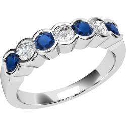 A stylish seven stone sapphire & diamond eternity ring in 18ct white gold