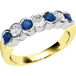 A stylish seven stone sapphire & diamond eternity ring in 18ct yellow & white gold