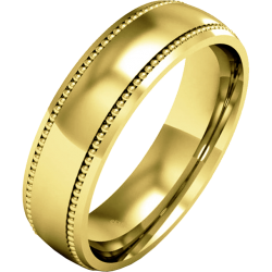 A stunning mill-grained ladies wedding ring in medium 18ct yellow gold