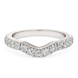 A round brilliant cut diamond set shaped wedding/eternity ring in 18ct white gold