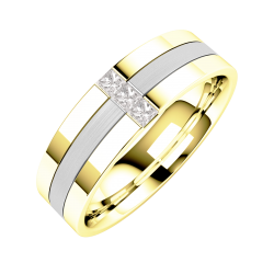 A stunning Princess Cut diamond set mens wedding ring in 18ct yellow & white gold
