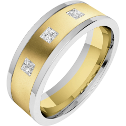 An eye catching Princess Cut diamond set mens ring in 18ct yellow & white gold