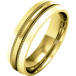 An elegant mill-grained mens ring in medium 18ct yellow gold