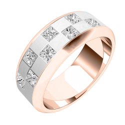 A stunning chequerboard design diamond set mens ring in 18ct rose & white gold