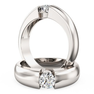 A beautiful Round Brilliant Cut solitaire diamond ring in 9ct white gold