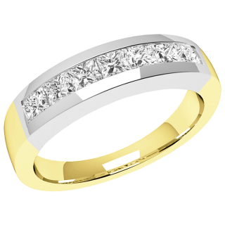 A breathtaking Princess Cut diamond eternity ring in 9ct yellow & white gold