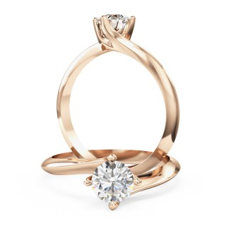 A modern Round Brilliant Cut solitaire twist diamond ring in 18ct rose gold