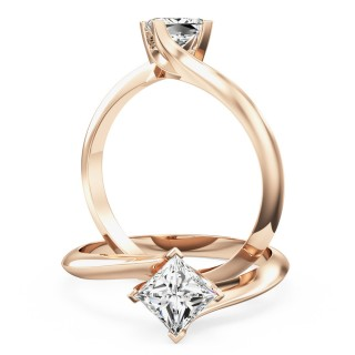 A stylish Princess Cut solitaire twist diamond ring in 18ct rose gold