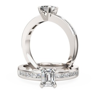 An elegant Princess Cut diamond ring with shoulder stones in 18ct white gold (In stock)