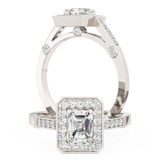 A beautiful Emerald Cut cluster style diamond ring in 18ct white gold