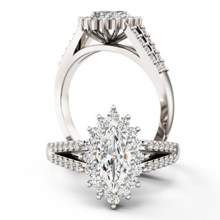 A breathtaking Marquise Cut cluster style diamond ring in 18ct white gold