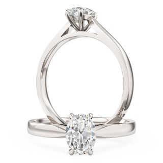 A beautiful Oval Cut solitaire diamond ring in 18ct white gold