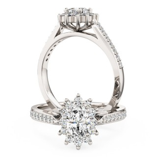 A classic oval diamond cluster style ring with diamond shoulders in 18ct white gold