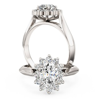 A stunning Oval & Round Brilliant Cut cluster diamond ring in 18ct white gold