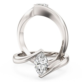 An eye catching Marquise Cut solitaire diamond ring in 18ct white gold