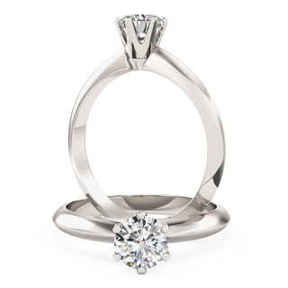 A timeless Round Cut solitaire diamond ring in 9ct white gold
