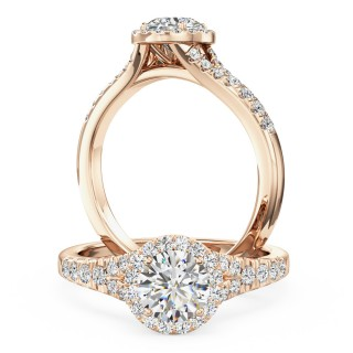 A stunning Round Brilliant Cut diamond cluster with shoulder stones in 18ct rose gold