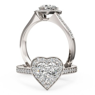 A stunning Heart diamond halo cluster with shoulder stones in 18ct white gold