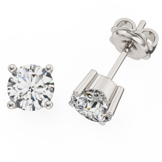 A classic pair of Round Brilliant Cut diamond earrings in 9ct white gold