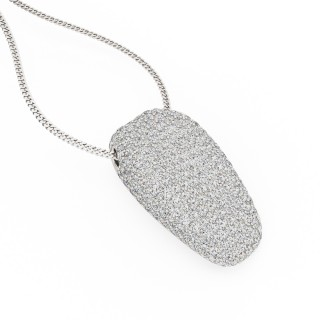 A stunning Round Brilliant Cut pave diamond necklace in 18ct white gold (In stock)