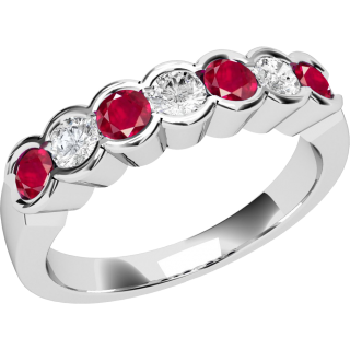 A stylish Round Brilliant Cut ruby & diamond eternity ring in 18ct white gold (In stock)
