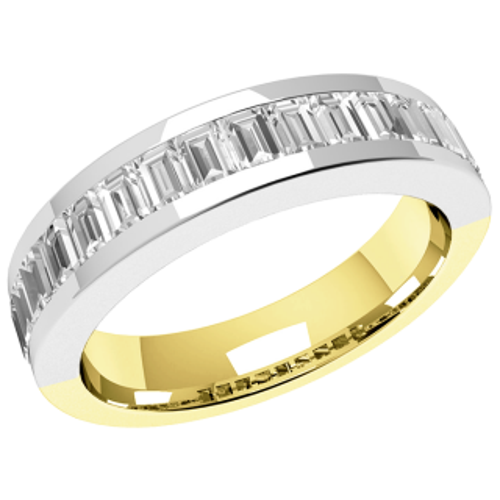 An elegant Baguette Cut diamond set wedding ring in 18ct yellow & white gold