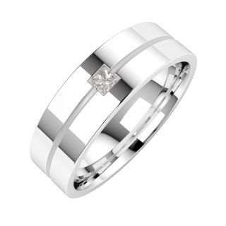 A classic Princess Cut diamond set mens ring in 18ct white gold