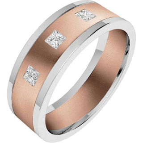 An eye catching Princess Cut diamond set mens ring in 18ct rose & white gold