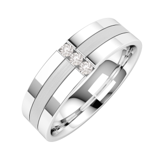 A striking Round Brilliant Cut diamond set mens wedding ring in 18ct white gold