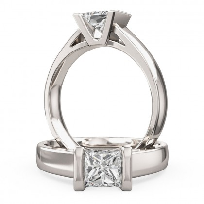 A beautiful Princess Cut solitaire diamond ring in 18ct white gold