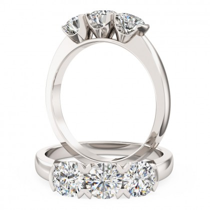 An eye catching Round Brilliant Cut three stone diamond ring in 18ct white gold