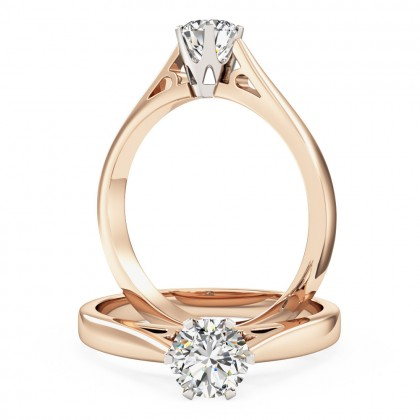 A stunning Round Brilliant Cut solitaire diamond ring in 18ct rose & white gold