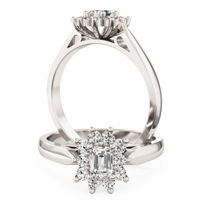 An elegant Emerald Cut diamond cluster ring in platinum
