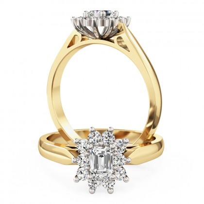 An elegant Emerald Cut diamond cluster ring in 18ct yellow & white gold