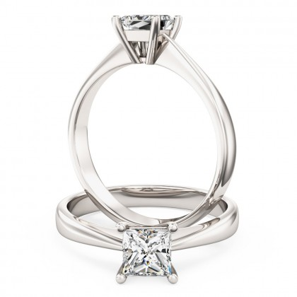 A classic Princess Cut solitaire diamond ring in platinum (In stock)