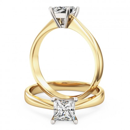 A classic Princess Cut solitaire diamond ring in 18ct yellow & white gold