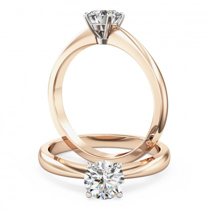 An elegant round brilliant cut solitaire diamond ring in 18ct rose & white gold