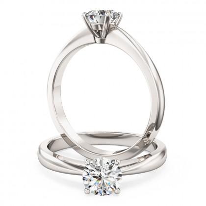 An elegant Round Brilliant Cut solitaire diamond ring in platinum (In stock)