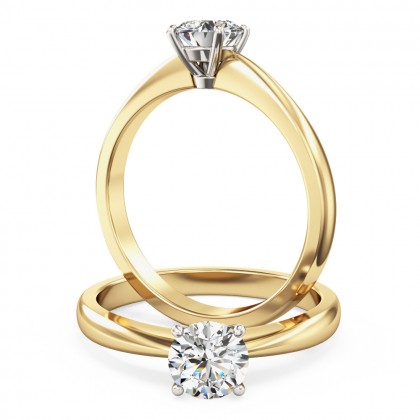 An elegant Round Brilliant Cut solitaire diamond ring in 18ct yellow & white gold (In stock)