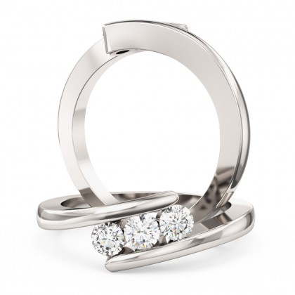 A Round Brilliant Cut three stone twisted diamond ring in platinum