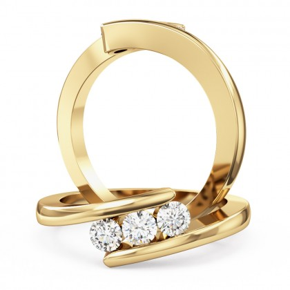A round brilliant cut three stone twisted diamond ring in 18ct yellow gold
