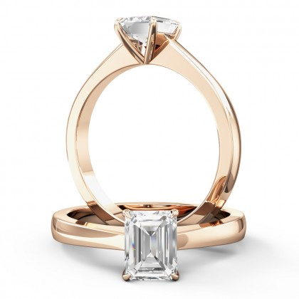 An elegant emerald cut solitaire diamond ring in 18ct rose gold