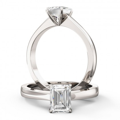 An elegant Emerald Cut solitaire diamond ring in platinum