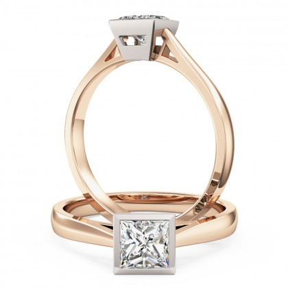 An eye catching princess cut solitaire diamond ring in 18ct rose & white gold