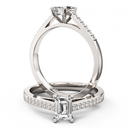 A sleek Emerald Cut diamond ring with shoulder stones in 18ct white gold